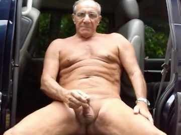 Horny Grandpa Cumming Outdoors